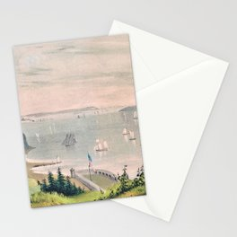 12,000pixel-500dpi - Nathaniel Currier - New York Bay - from the telegraph station Stationery Cards