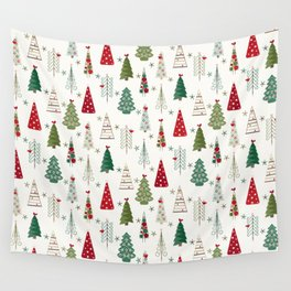 Scandinavian Christmas Trees Pattern - Red Green Wall Tapestry