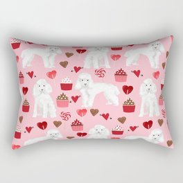 Toy poodle white poodles valentines day cupcakes love hearts dog breed pet portrait pattern gifts pe Rectangular Pillow