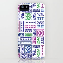 Polynesian Geometric Tapa Cloth - Purple, Green, and Magenta iPhone Case