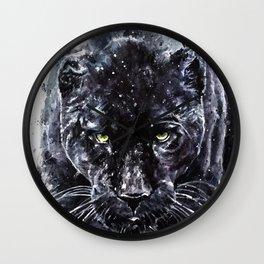 Panther watercolor painting predator animals puma jaguar Wall Clock