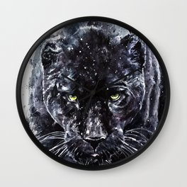 Panther watercolor painting predator animals puma Wall Clock