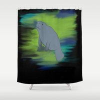 manatee Shower Curtains featuring manatee by 💐JadeRose