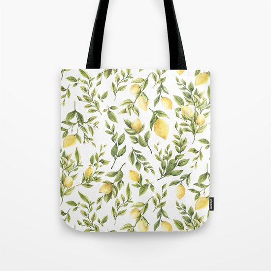 Bright Yellow Watercolor Lemons and Leaves by dazzettemarie