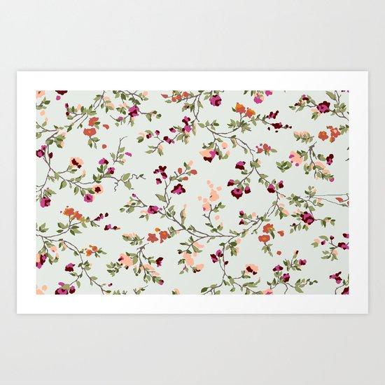floral vines - neutrals Art Print