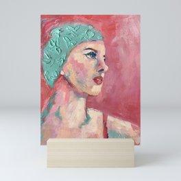 Swim Cap Sally Mini Art Print