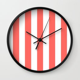 Pastel red - solid color - white vertical lines pattern Wall Clock