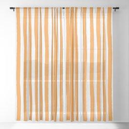 Orange and White Cabana Stripes Palm Beach Preppy Sheer Curtain