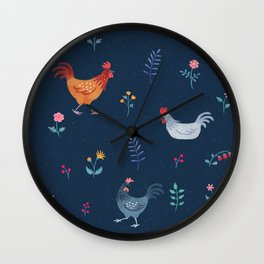Little Hens (blue) Wall Clock