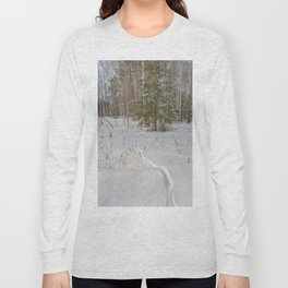 Fox tracks in snowy forest Long Sleeve T-shirt