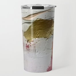 Untranslated Stars: a minimal, abstract piece in gold, pink, and white by Alyssa Hamilton Art Travel Mug