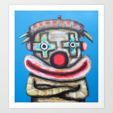 Clown with small advertisement Art Print