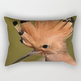 Beautiful Hoopoe Bird With Crown Of Feathers Rectangular Pillow