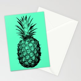 Pineapple! Black on mint green Stationery Cards