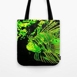 lionfish vector art green Tote Bag