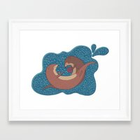 otters Framed Art Prints featuring Underwater Otters by Amarie