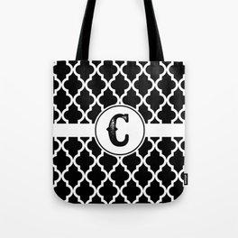Black Monogram: Letter C Tote Bag