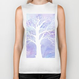 Watercolor Abstract winter oak tree purple background Biker Tank