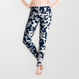 Small Spots - White and Oxford Blue Leggings