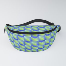 Pyromidal pattern of blue squares and striped green triangles. Fanny Pack