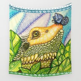 Irene's Bearded Dragon Square Wall Tapestry