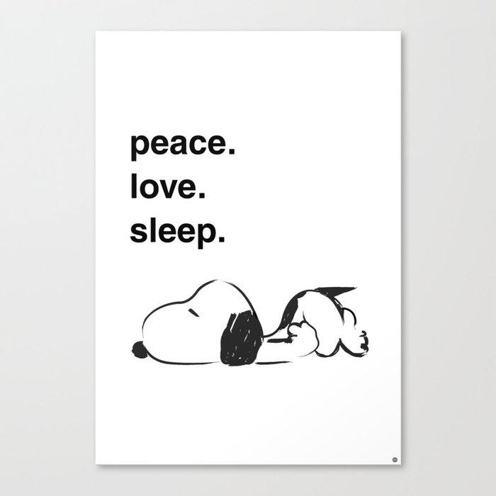 Snoopy - peace love sleep Leinwanddruck