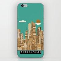minneapolis iPhone & iPod Skins featuring Minneapolis skyline by bri.buckley