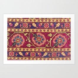 Mughal North Indian Late 17th Century Silk Carpet Print Art Print
