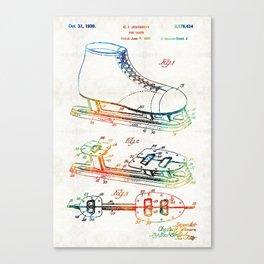 Ice Skate Patent - Sharon Cummings Canvas Print