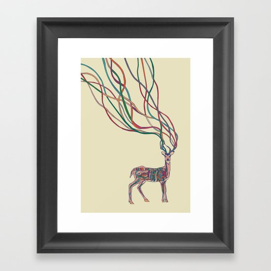 Deer Ribbons Framed Art Print