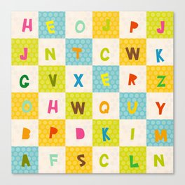 alphabet  from A to Z. Polka dot background with green blue orange square Canvas Print