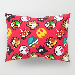 Super Mar!o World enemies | red flame | funny retrogaming pattern Pillow Sham