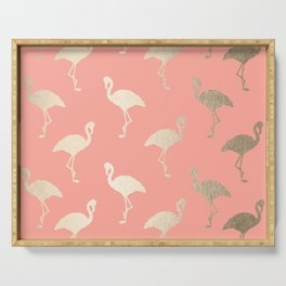 Gold Flamingo Pattern Coral Pink Serving Tray