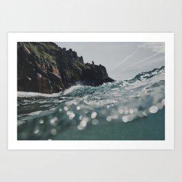 Breaking wave Pedn Vounder Beach, Cornwall. Art Print