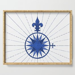 Nautical French Blue Compass Rose Serving Tray