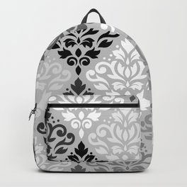 Scroll Damask Ptn Art BW & Grays Backpack