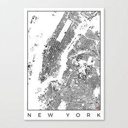 New York Map Schwarzplan Only Buildings Canvas Print