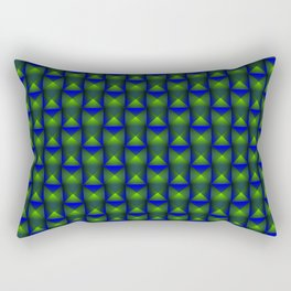 Tiled pattern of green squares and striped blue triangles. Rectangular Pillow