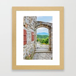 Town of Hum stone gate and street view Framed Art Print