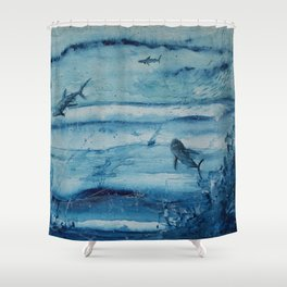 Sharks in deep blue Shower Curtain