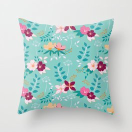 Exotic Flower Pattern Throw Pillow