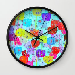 SPECKLE ME DOTTY - Bright Polka Dot Cheerful Aqua Turquoise Blue Rainbow Fine Art Abstract Painting Wall Clock
