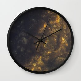 The stones covered with algae illuminated with the sun in the sunset Wall Clock