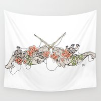 narwhal Wall Tapestries featuring Narwhal  by Erin Inglis