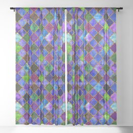 Peacock Arabesque Digital Quilt Sheer Curtain