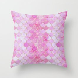 Pink Pearlescent Mermaid Scales Pattern Throw Pillow