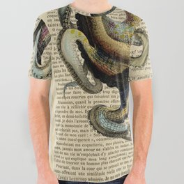 Book Art Octopus Color All Over Graphic Tee
