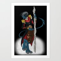nightcrawler Art Prints featuring Fantasy Nightcrawler by quietsnooze