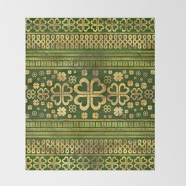 Shamrock Four-leaf Clover Green Wood and Gold Throw Blanket