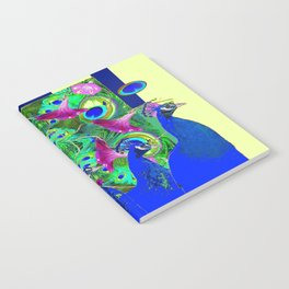 BLUE PEACOCKS & MORNING GLORIES PARALLEL YELLOW PATTERNED ART Notebook